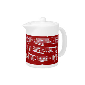 Red music notes teapot