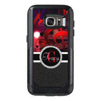 Red music notes with a leather bottom Monogram OtterBox Samsung Galaxy S7 Case