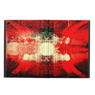 Red music speakers on a cracked wall case for iPad air