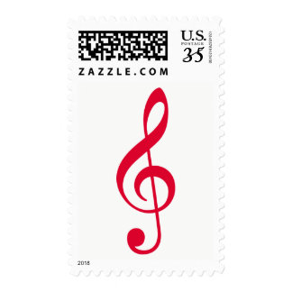 red musical note / treble clef postage