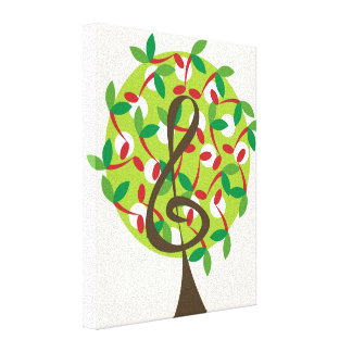 Red Musical Note Tree Whimsical Nursery Wall Art