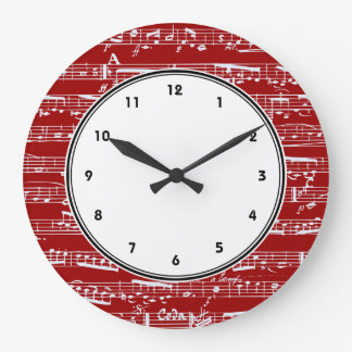 Red musical notes wall clock with numbers