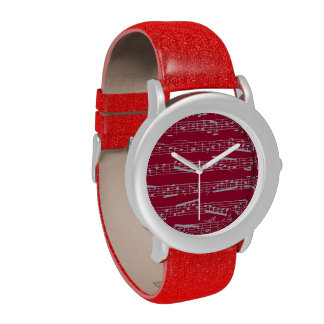 Red musical notes wristwatches