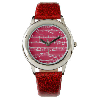 Red musical notes wristwatch
