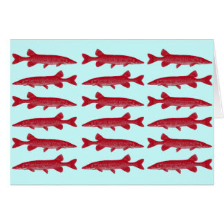 Red Muskie Fish Card