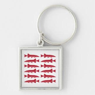 Red Muskie Fish School Keychain