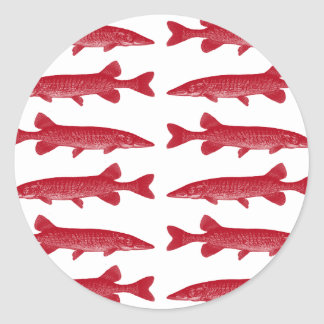Red Muskie Fish Classic Round Sticker