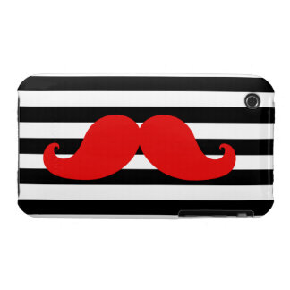 Red Mustache and Black Stripes Case-Mate iPhone 3 Case