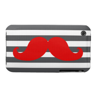 Red Mustache and Grey Stripes iPhone 3 Case-Mate Case