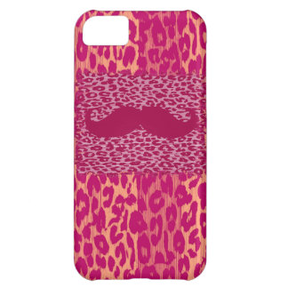 Red Mustache and Leopard Print Cover For iPhone 5C