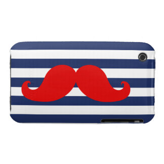 Red Mustache and Navy Blue Stripes iPhone 3 Cover