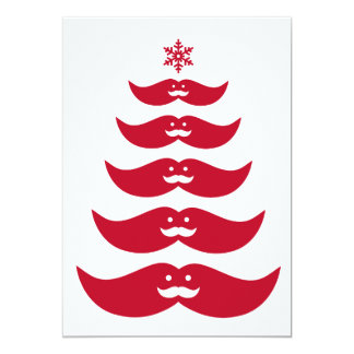 Red mustache Christmas tree design Card