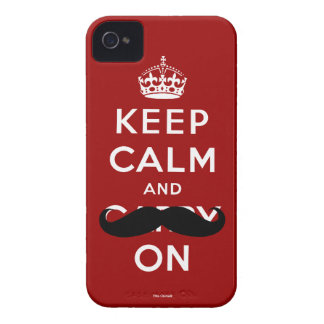 Red Mustache Keep Calm and Carry On iPhone 4 Case
