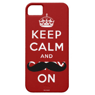Red Mustache Keep Calm and Carry On iPhone 5 Case