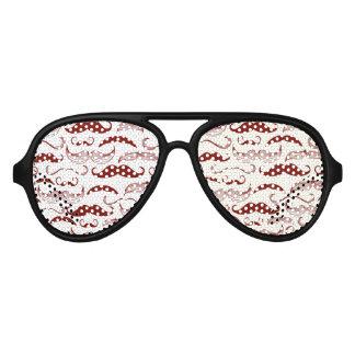 Red Mustache Pattern Aviator Sunglasses