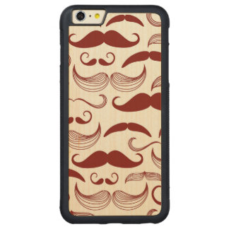 Red Mustache Pattern Carved Maple iPhone 6 Plus Bumper Case