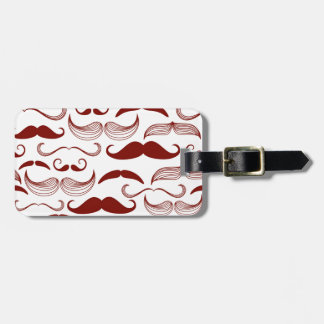 Red Mustache Pattern Luggage Tag