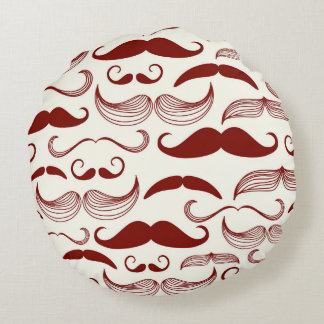Red Mustache Pattern Round Pillow
