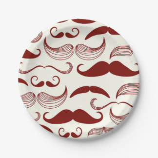 Red Mustache Pattern Paper Plate