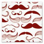 Red Mustache Pattern Photo Print