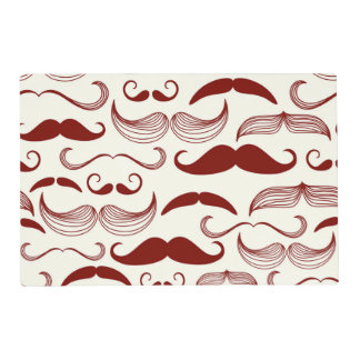 Red Mustache Pattern Placemat