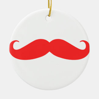 Red Mustache Stache for Christmas Ceramic Ornament