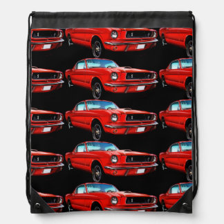 Red Mustangs on Black Drawstring Backpack