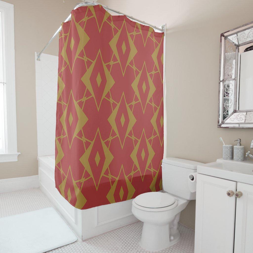 Red, Mustard Geometric Shower Curtain