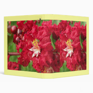 Red Myrtle Abstract 3 Ring Binder