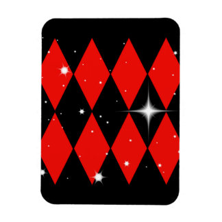 Red n Black Diamonds With Stars Pattern Magnet