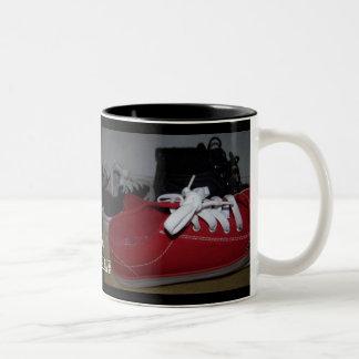 red n black fun shoe mug