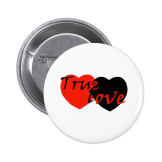 Red n Black True Love Hearts 2 Inch Round Button