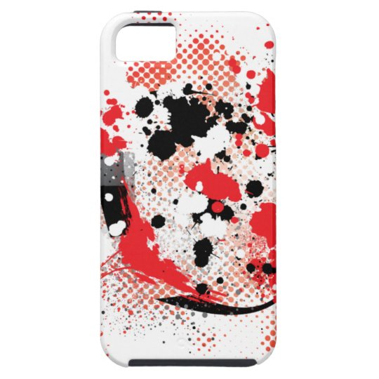red n blk splotches-3 iPhone SE/5/5s case
