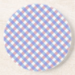 Red n Blue Gingham Pattern Beverage Coaster