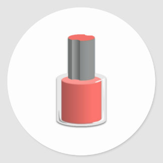 Red Nail Polish Round Sticker