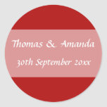 Red Name & Date Envelope Seal Stickers