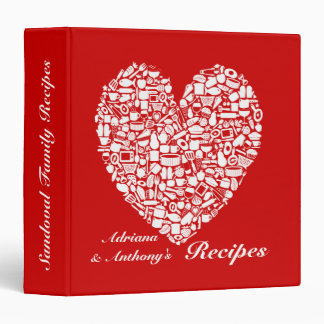 Red Name Personalized Kitchen Recipe Binder
