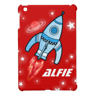 Red named space rocket ipad mini case for the iPad mini