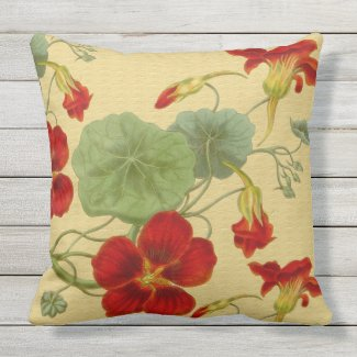 Red Nasturtiums on Gold Outdoor Pillow 20x20