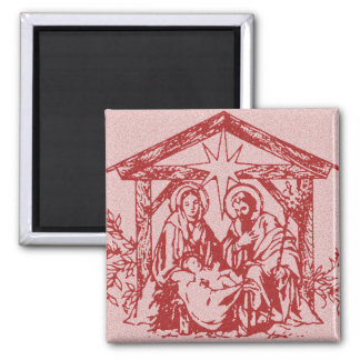 Red Nativity 2 Inch Square Magnet