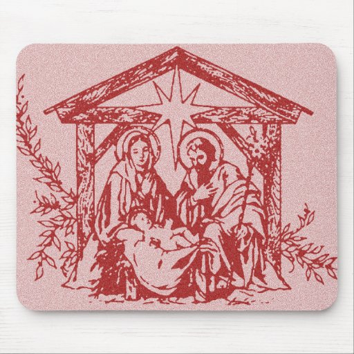 Red Nativity Mouse Pads