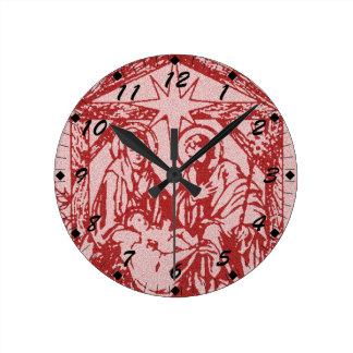 Red Nativity Round Clock