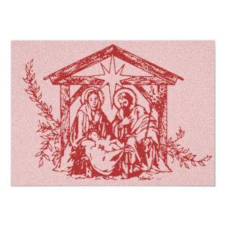Red Nativity Stamp Invitation