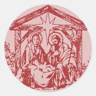 Red Nativity Classic Round Sticker