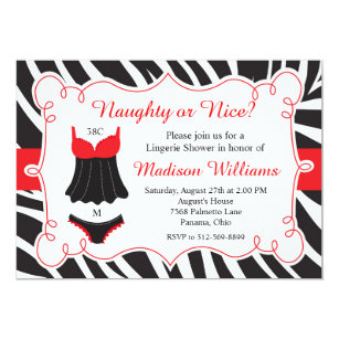 red naughty or nice lingerie bridal shower invitation
