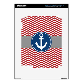 Red Nautical Anchor Chevron Decals For iPad 3