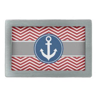 Red Nautical Anchor Chevron Rectangular Belt Buckle