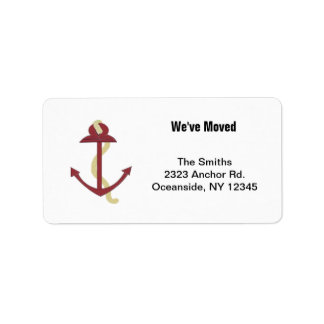 Red Nautical Anchor Address Label