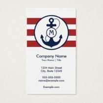 Red Nautical Anchor Monogram Business Card
