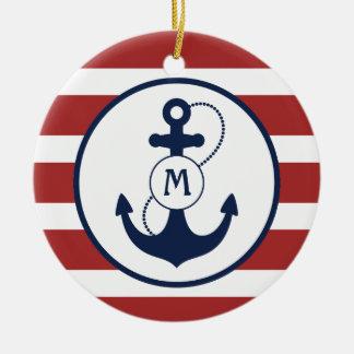 Red Nautical Anchor Monogram Ceramic Ornament